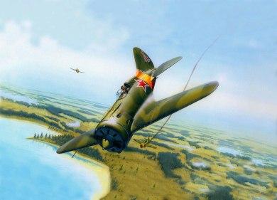 Polikarpov I-16 soviético derriba Brewster 239 Fuerza Aérea finlandesa