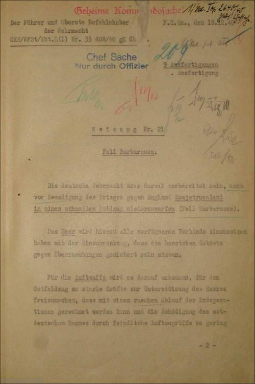 Directiva numero 21 18 diciembre 1940 oepracion barbarroja