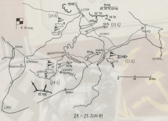 Map of Dubno 24-25 june 1941