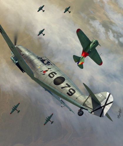 bf-109 D-1 moelders vs i-16 guerra civil